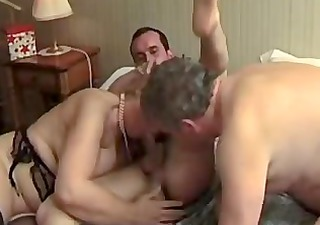 bi-sex matures three-some